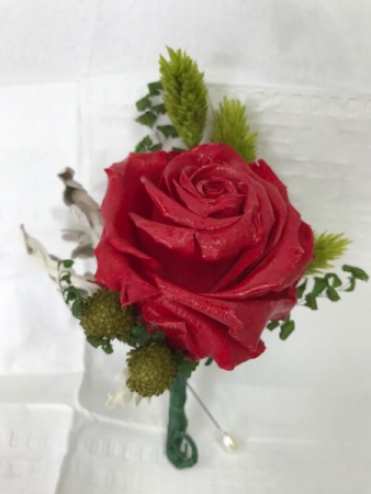 WFP 419 Preserved Red Rose Boutonniere