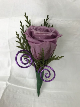 WFP 420 Preserved Purple Rose Boutonniere