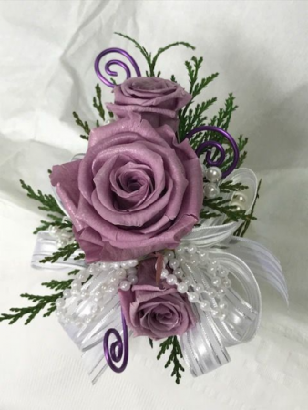 WFP 423 Preserved Purple Tea Roses Corsage