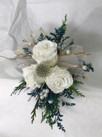 WFP 424 Preserved White Tea Roses Corsage