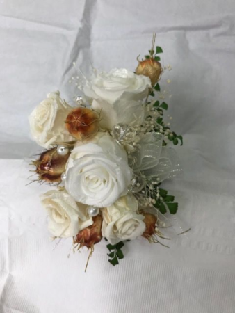 WFP 426 Preserved Tea Roses Corsage