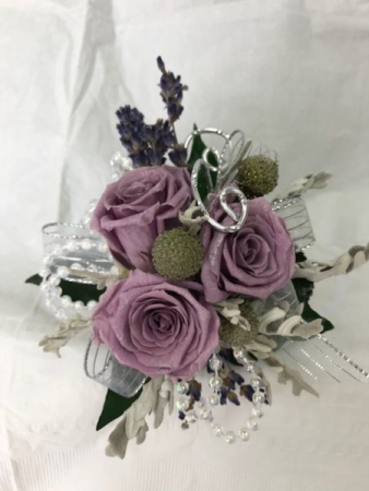 WFP 428 Preserved Purple Tea Roses Corsage