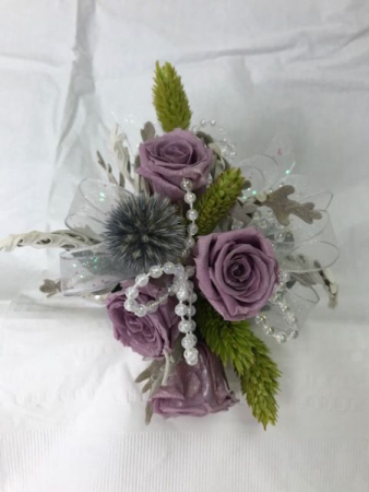 WFP 429 Preserved Purple Tea Roses Corsage