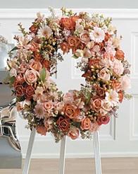 WFS1543 Sweet Peachy Pink Standing Wreath