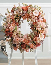 WFS1543 Sweet Peachy Pink Standing Wreath