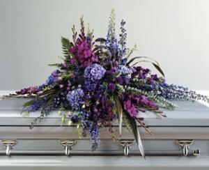 WFC135 Casket Spray - Purple Garden  in Westford, MA | WESTFORD FLORIST