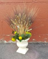 Wheat and pear Silk flower arrangement