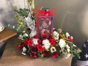 When a Cardinal Appears Artificial flowers with lantern  in Fairfield, OH | NOVACK-SCHAFER FLORIST