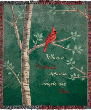 """When a Cardinal Appears Manual 50x60"""" Tapestry Throw"""
