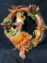 Whimsical Fall Grapevine Wreath  Grapevine Silk Wreath
