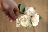 Whimsical White Roses Wrist Corsage & Boutonniere Prom Special