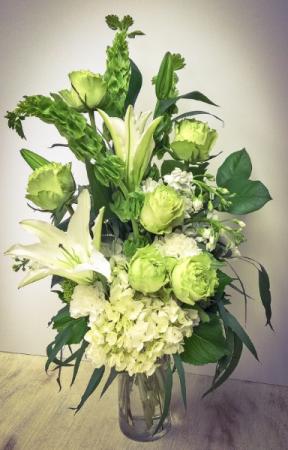 Whimsical Whites and Greens Vase Arrangement