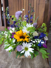 Whimsical Wildflowers arrangement in container