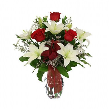 Whisper Lily Rose Vase Arrangement
