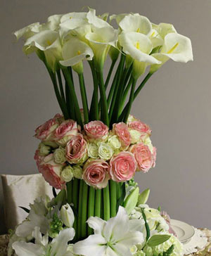 Whispers of Calla Lilies Centerpiece in Ozone Park, NY | Heavenly Florist
