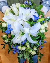 Whispers of White with Something Blue Bridal bouquet In-House Special