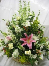 White with Pink Lillies Arrangement