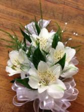 White Alstro Corsage & Boutonniere Prom Special