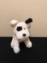 White and Black Puppy Stuffed Plush