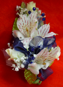 White and Blue Corsage-3A