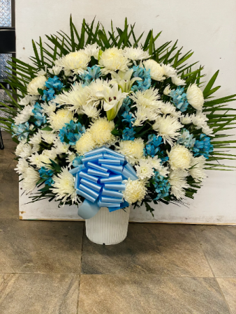 White and blue flowers  Sympathy basket
