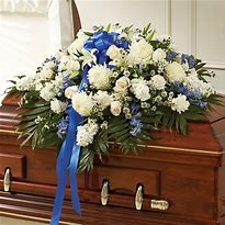 white and blue half casket piece funeral