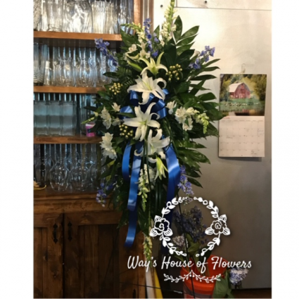 White and Blue Standing Spray