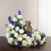 White and Blue  Urn Wreath