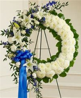 white and blue with blue ribbon open wreath funeral