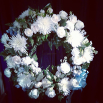 white and blue wreath tribute standing wreath