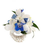 white and blue Wristlet Prom