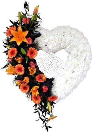 White and Coral orange Standing Sympathy Heart