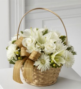 White and Gold Basket Arrangement Christmas