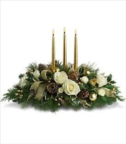White and gold centerpiece  Christmas