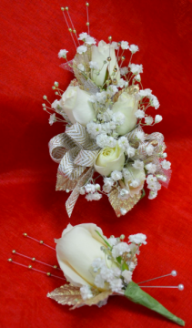White and Gold Corsage and Boutonniere-11E & 11F