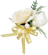 White and Gold Pin-on Corsage