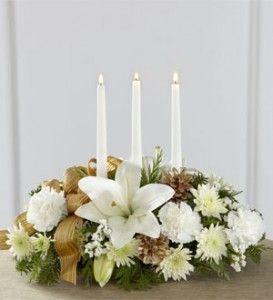 White and Gold Triple Candle Arangement Christmas