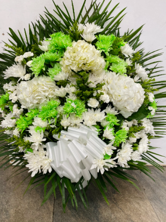 White and green flowers  Funeral basket