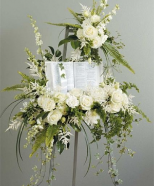 White and Green Standing Spray Funeral in Abbotsford, BC   FUNERAL FLOWERS ABBOTSFORD