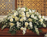 white and ivory half casket cover funeral
