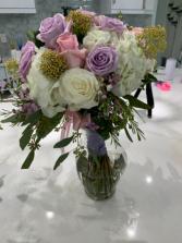 White and lavender bride bouquet