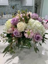 White and lavender centre piece