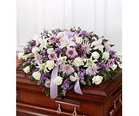 white and lavender half casket piece funeral