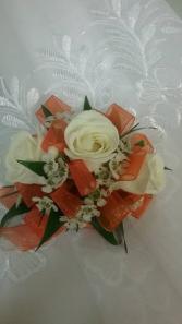 White and Orange Corsage