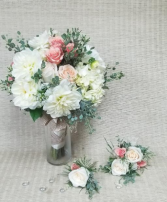 White and Pastel Wedding Ensemble Hand tied bouquet with matching corsage and boutineer