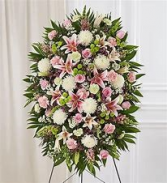 white and pink standing spray funeral
