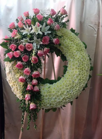 white and Pink Standing Sympathy Wreath