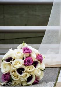 White and purple Bridal bouquet