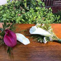 White and Purple Calla Boutonnieres