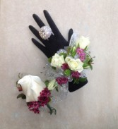 White and Purple Shimmer Boutonniere